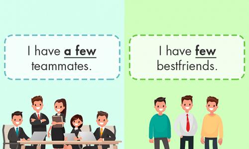 Ví dụ phân biệt few & a few